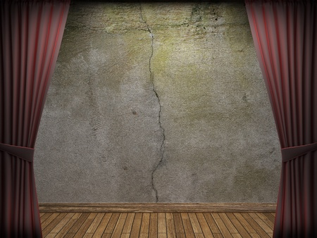 velvet curtain and stone wall made in 3d Stock Photo - 9300481