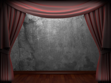 velvet curtain and stone wall made in 3d photo