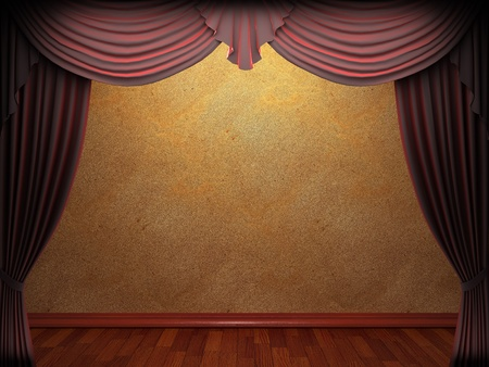 curtain theatre: velvet curtain and stone wall made in 3d