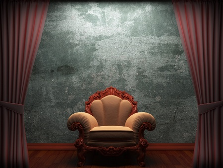 theaters: Red velvet curtain opening scene made in 3d