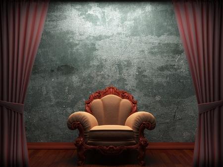 theatre: Rotem Samt Vorhang Er�ffnungsszene gemacht in 3d