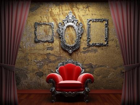 opulence: Red velvet curtain opening scene made in 3d