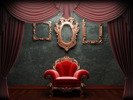 Red velvet curtain opening scene made in 3d photo