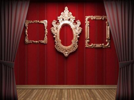 Red velvet curtain opening scene made in 3d Stock Photo - 9358507