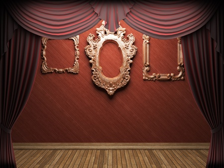 Red velvet curtain opening scene made in 3d Stock Photo - 9358375