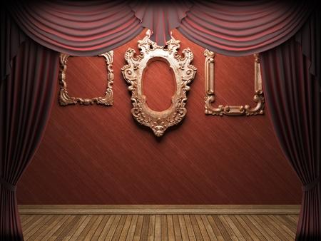 Red velvet curtain opening scene made in 3d Stock Photo - 9358375