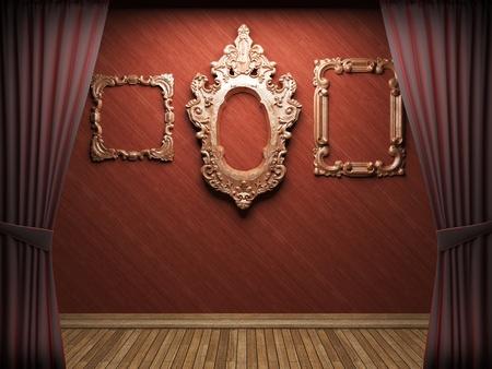 terciopelo rojo: Apertura de cortina de terciopelo rojo escena en 3d