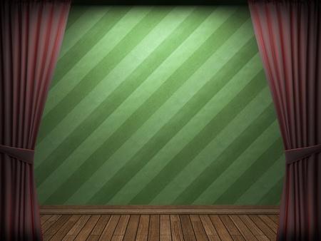 Red velvet curtain opening scene made in 3d Stock Photo - 9356474