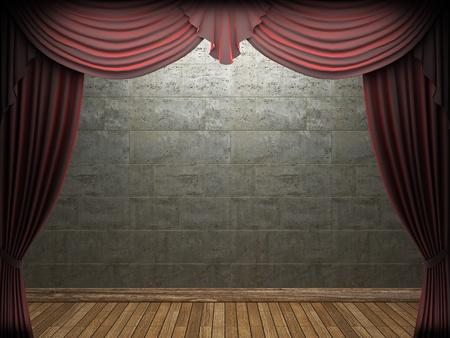 Red velvet curtain opening scene made in 3d Stock Photo - 9348352