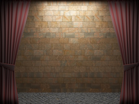 Red velvet curtain opening scene made in 3d Stock Photo - 9348350