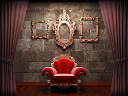 red velvet: Red velvet curtain opening scene made in 3d