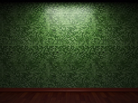 plain background: illuminated tile wall made in 3D graphics