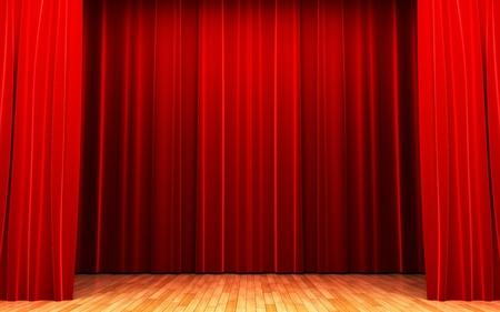 terciopelo rojo: Escena de apertura de la cortina de terciopelo rojo  Foto de archivo