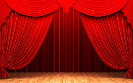 Red velvet curtain opening scene made in 3d photo