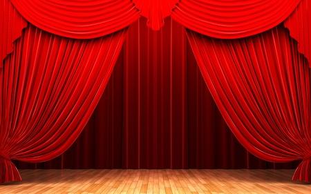 velvet: Red velvet curtain opening scene made in 3d