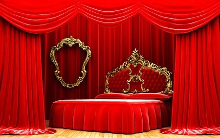 Red velvet curtain opening scene made in 3d Stock Photo - 10552575