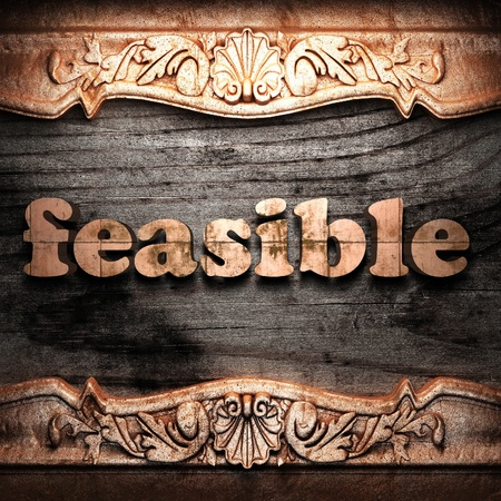 feasible: Golden word on wood