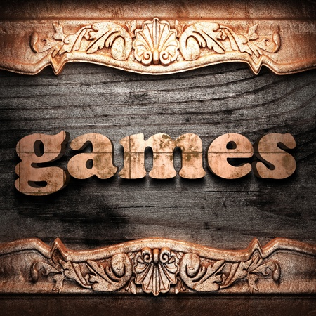 board games: Golden word on wood