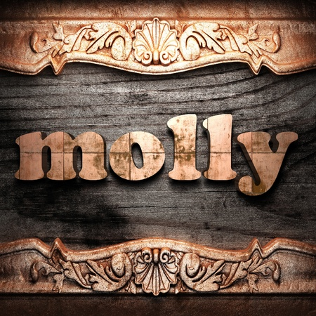 molly: Golden word on wood
