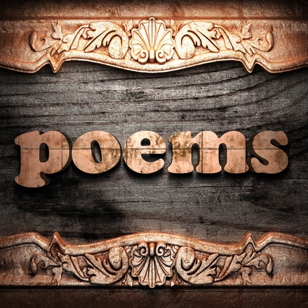 poems: Golden word on wood