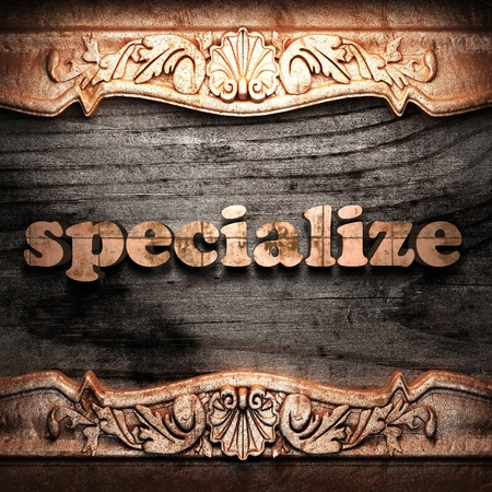 specialize: Golden word on wood