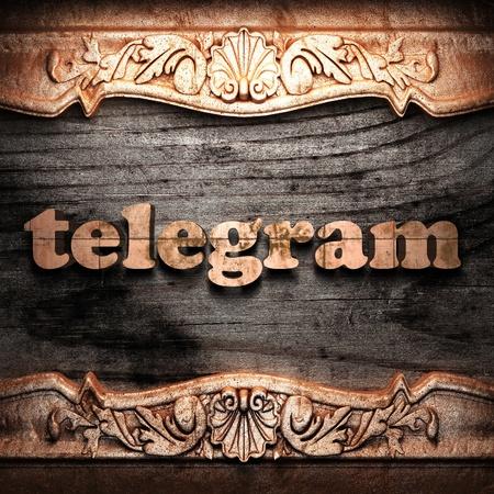 telegrama: Palabra de oro sobre madera
