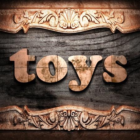 juguetes antiguos: La palabra de oro sobre madera