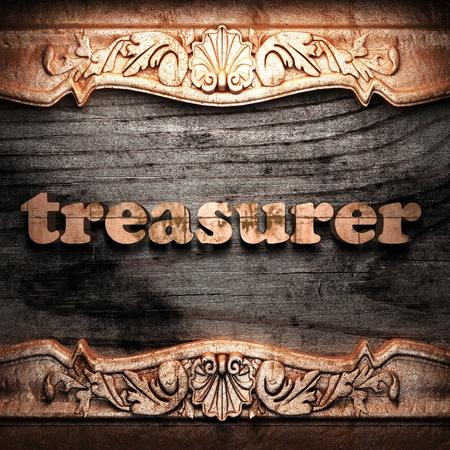 treasurer: Golden word on wood