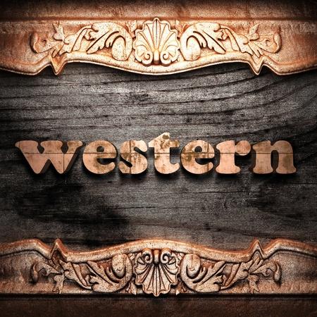 baroque border: Golden word on wood