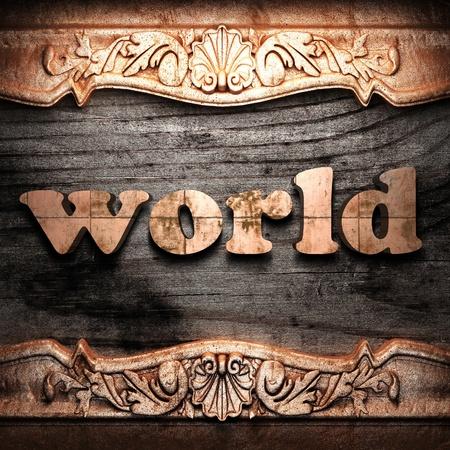 Golden word on wood photo