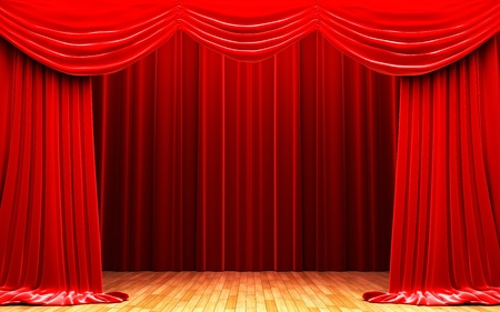 cortinas rojas: Escena de apertura de la cortina de terciopelo rojo Foto de archivo