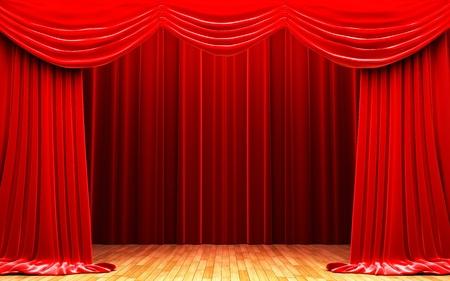 Rood fluwelen gordijn openingsscène