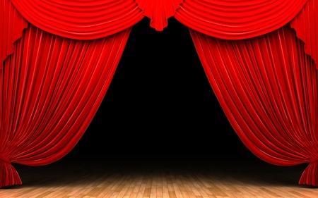 Red velvet curtain opening scene Stock Photo - 11115038