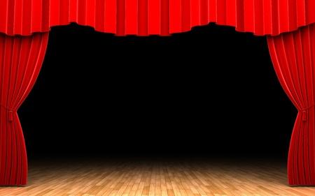 theater audience: Red velvet curtain opening scene
