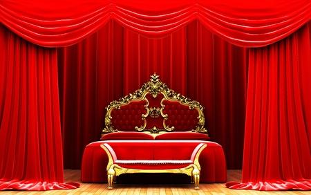 Red velvet curtain opening scene Stock Photo - 11115041