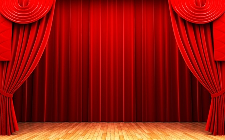 curtain theatre: Red velvet curtain opening scene