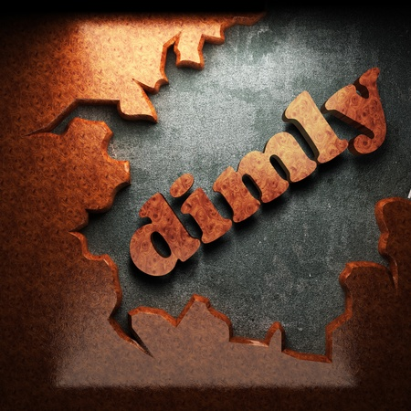 dimly: red wood word on concrete
