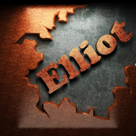 elliot: red wood word on concrete