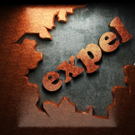 expel: red wood word on concrete