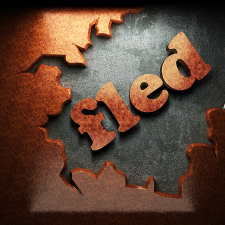 fled: red wood word on concrete