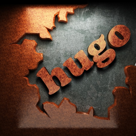 hugo: red wood word on concrete