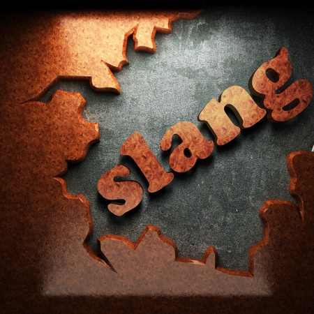 slang: red wood word on concrete