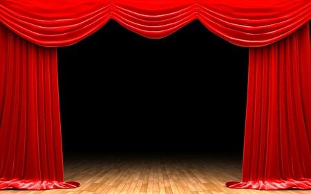 Red velvet curtain opening scene