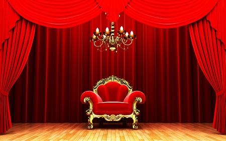 Red velvet curtain opening scene Stock Photo - 11180654