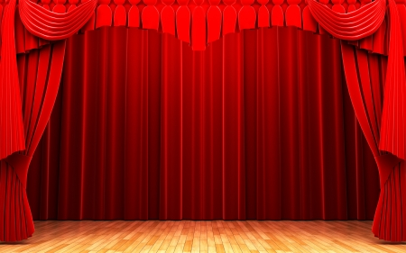 theatre stage: Red velvet curtain opening scene