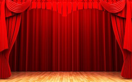 rideau de theatre: Rideau de velours rouge sc�ne d'ouverture