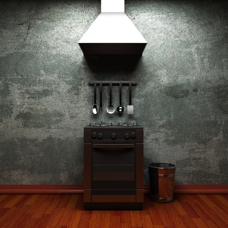 messy kitchen: kitchen made in 3d graphics