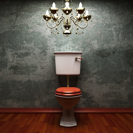 damaged cement: toilet made in 3D graphics