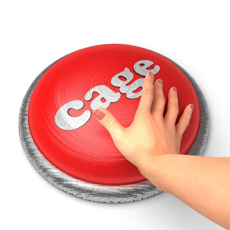 goal cage: Hand pushing the button