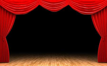 opulence: Red velvet curtain opening scene